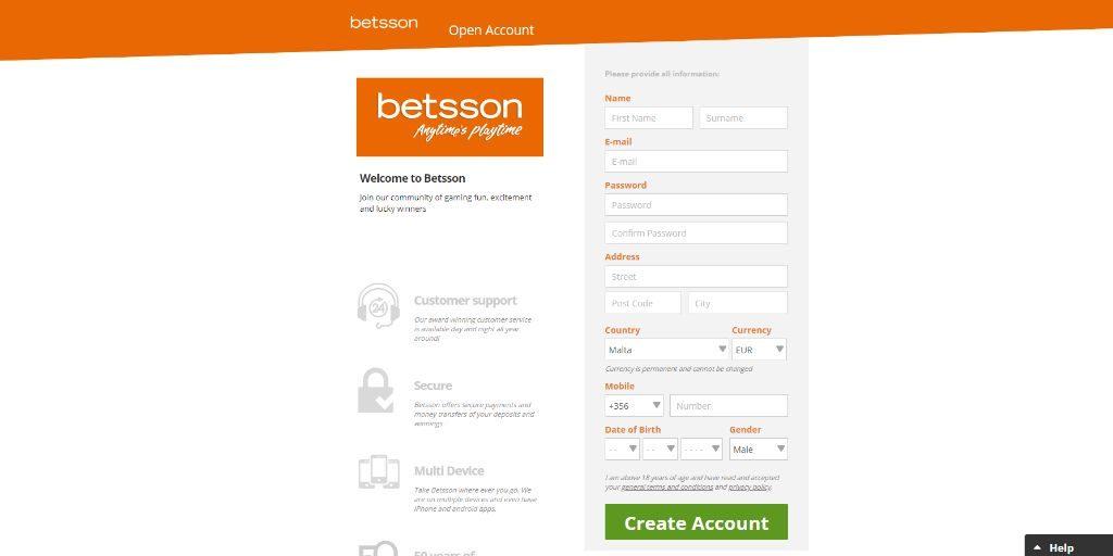 Betsson registratiepagina