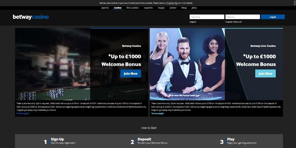 Betway casino landing pagina