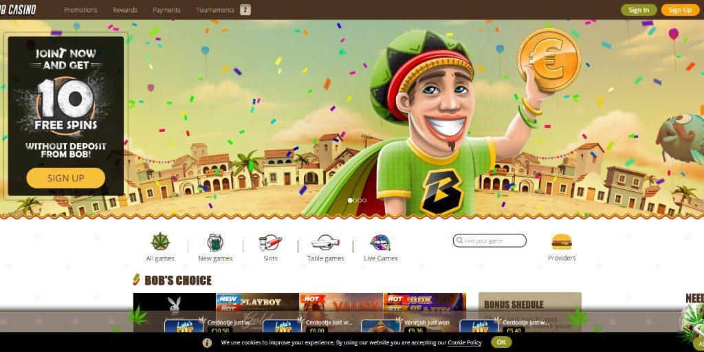 Bob casino landing pagina