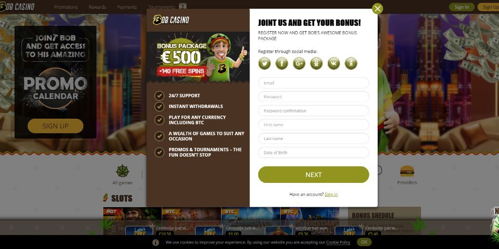 Bob casino registratiepagina