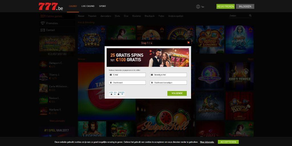 Casino 777 registratiepagina