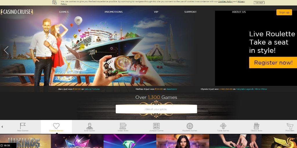 Casino Cruise landing pagina