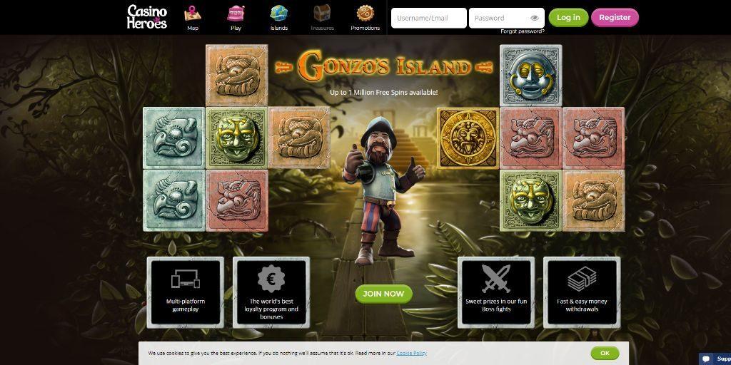 Casino Heroes landing pagina