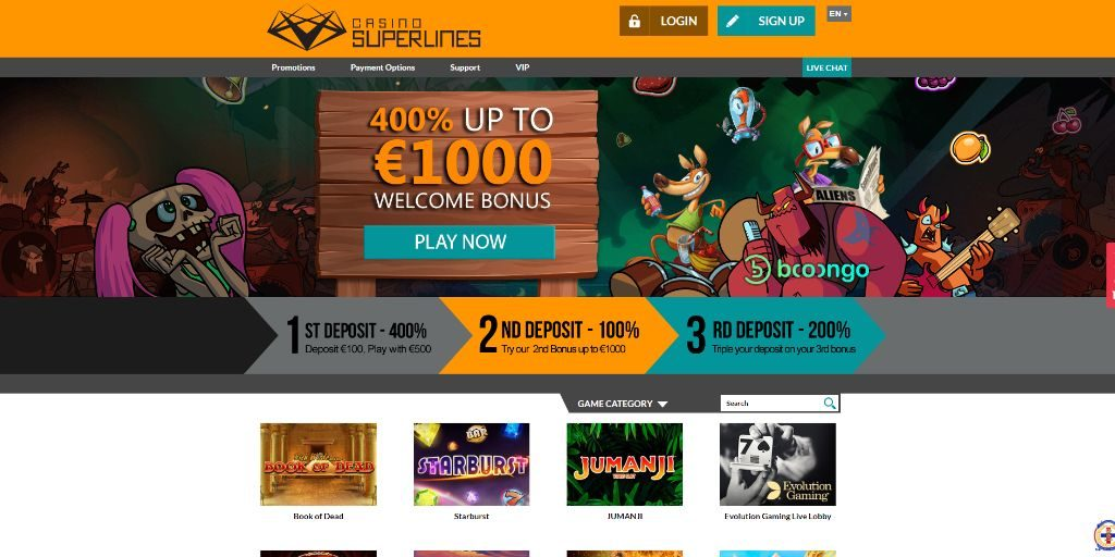 Casino Superlines landing pagina