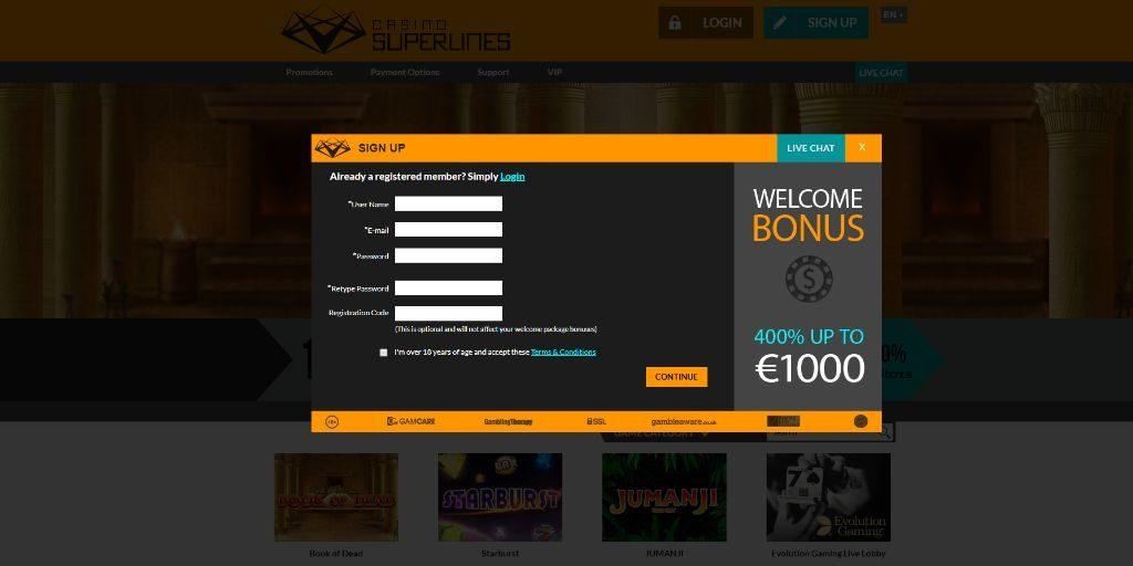 Casino Superlines registratiepagina