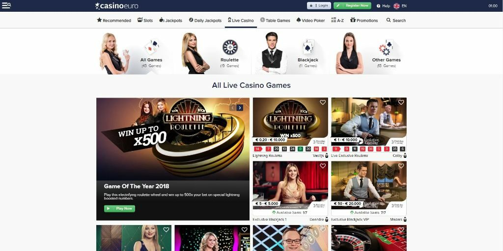 CasinoEuro live casino lobby