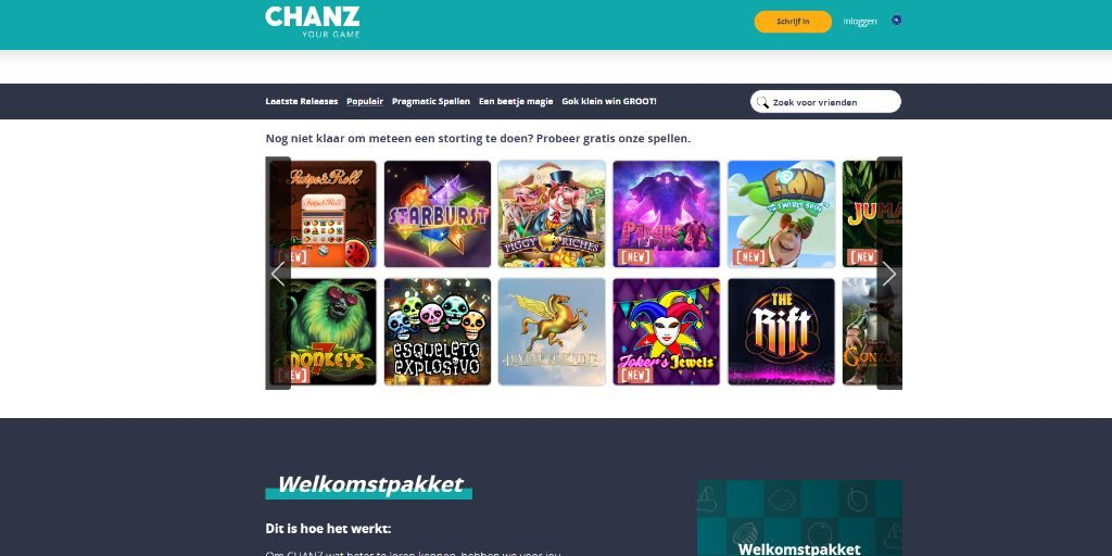 Chanz landing pagina