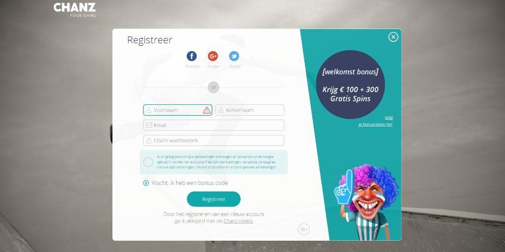 Chanz registratiepagina
