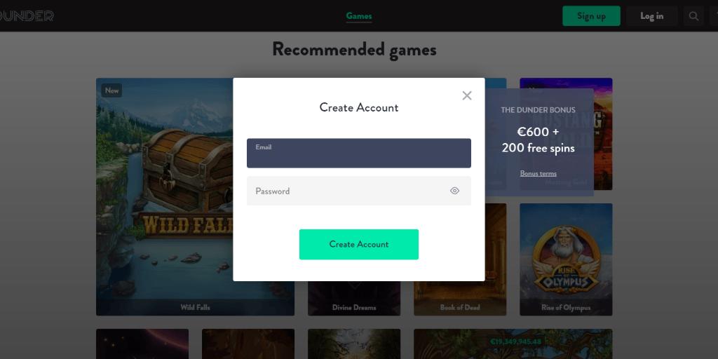 Dunder casino registratiepagina