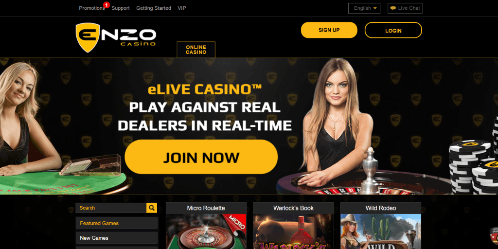 Enzo casino landing pagina