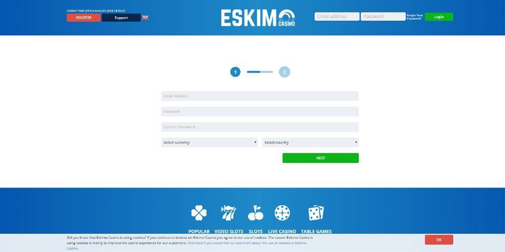 Eskimo casino registratiepagina