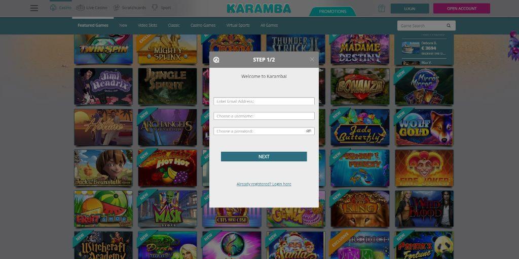 Karamba registratiepagina