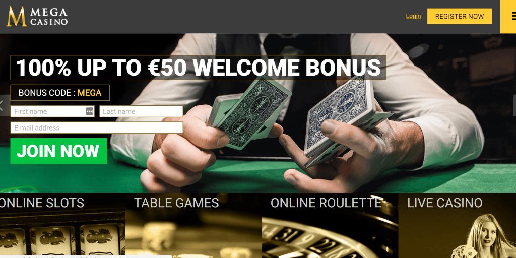 Mega Casino landing pagina