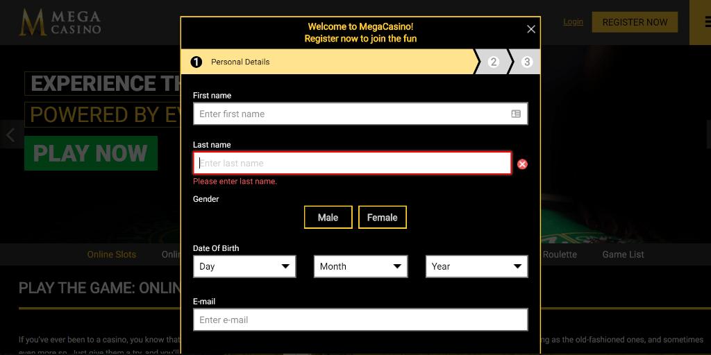 Mega Casino registratiepagina
