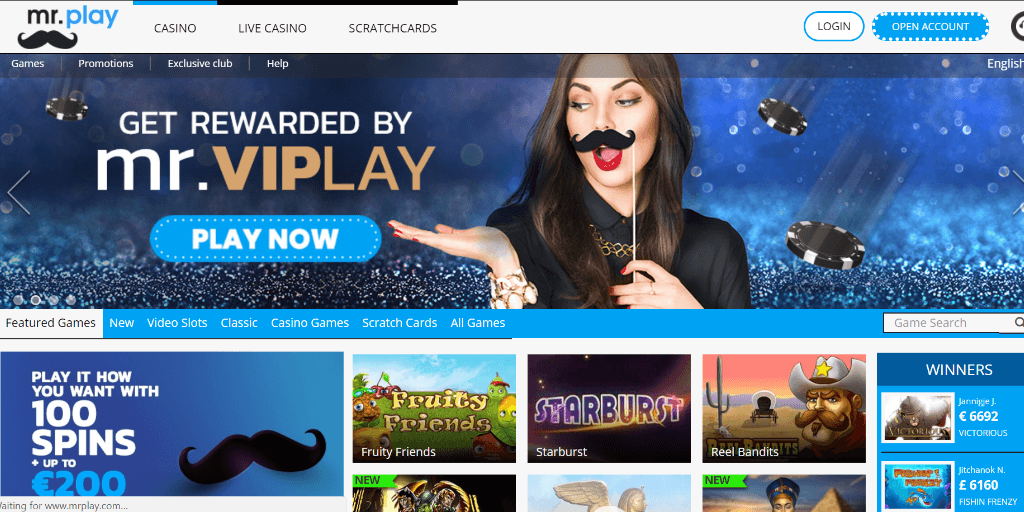 Mr Play landing pagina