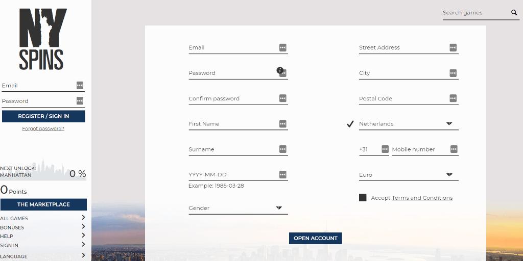 NYSpins registratiepagina