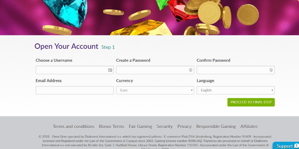 Omni Slots registratiepagina