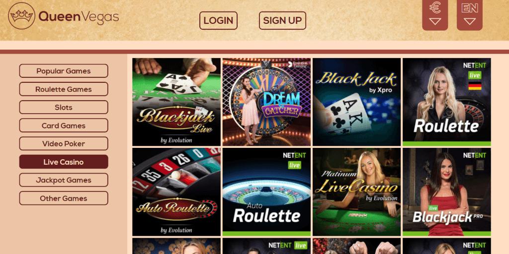 QueenVegas live casino