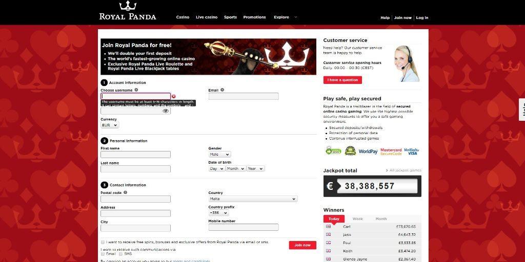 Royal Panda registratiepagina