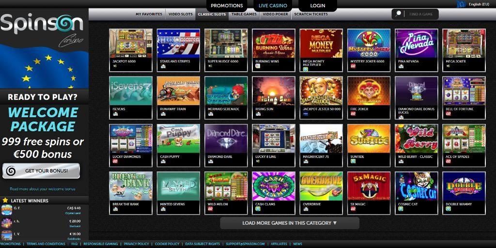 Spinson casino lobby
