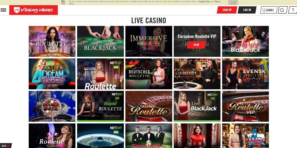 Vegas Hero casino lobby