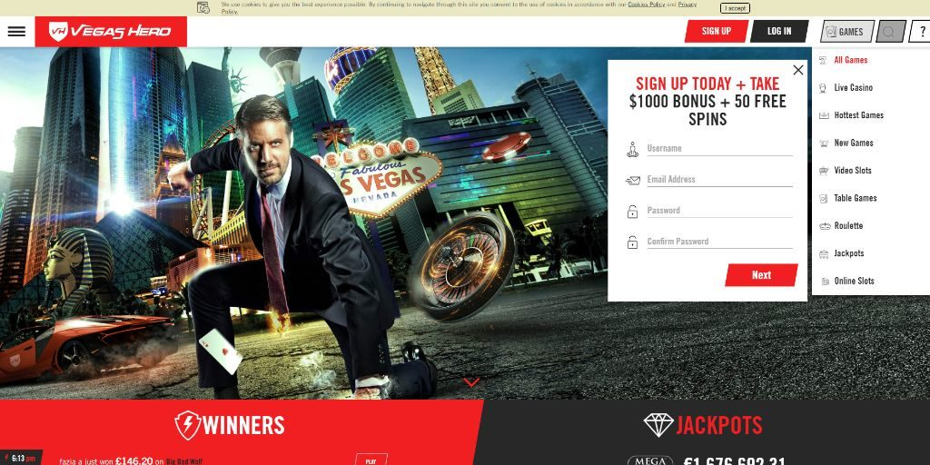Vegas Hero landing pagina